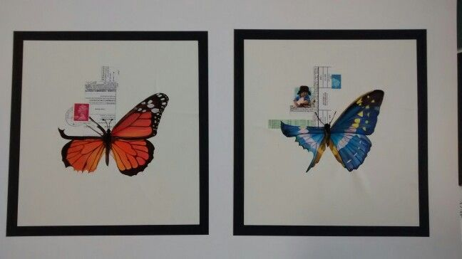 Insect, butterfly art, postage stamps, bright colours, painted with gouache by Karolina Czerwinska