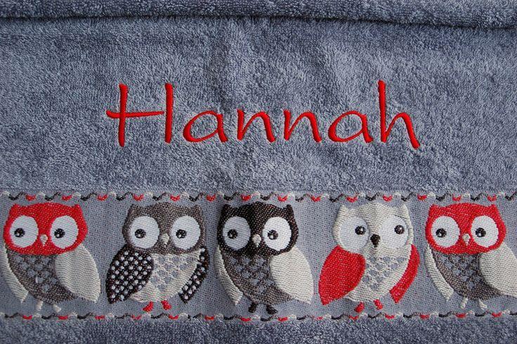 Handtücher - Handtuch mit Eulen und Namen - ein Designerstück von pulliver bei DaWanda