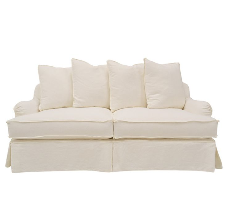 Quatrine furniture milan slipcovered sofa in white linen for White linen sectional sofa