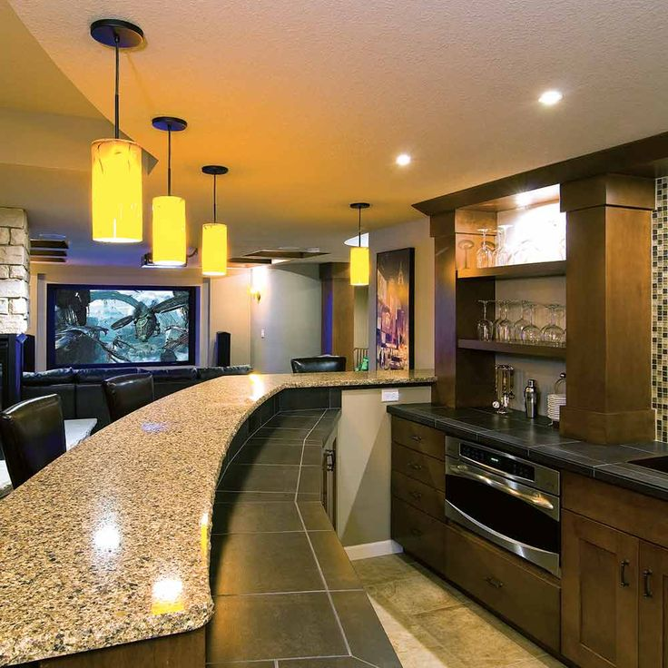 Basement Remodeling Company: Can Lights, Bar And Kind Of