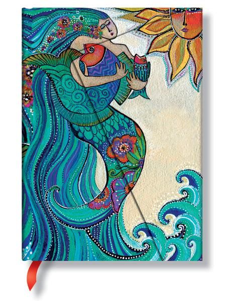 """Beautiful blues of the siren singing to the ocean cover this gorgeous journal. Lined (ruled) 5"""" x 7"""""""