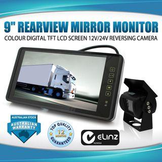 """9"""" Rearview Mirror Monitor 12V 24V Reversing CCD Camera Truck Caravan"""
