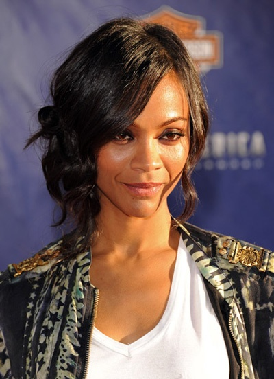 black hair styles updo zoe saldana side bun hair updo 9793