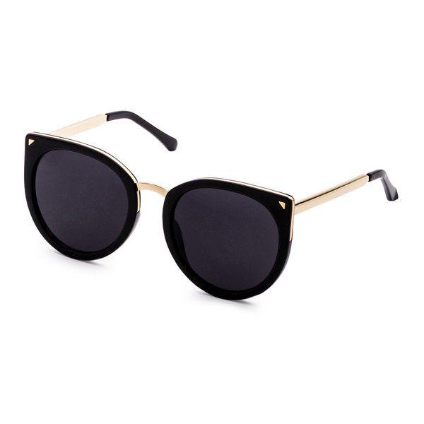 Black Metal Trim Cat Eye Sunglasses (£9.82) ❤ liked on Polyvore featuring accessories, eyewear, sunglasses, glasses, black, cat-eye glasses, cat eye sunnies, cat eye sunglasses and cateye sunglasses