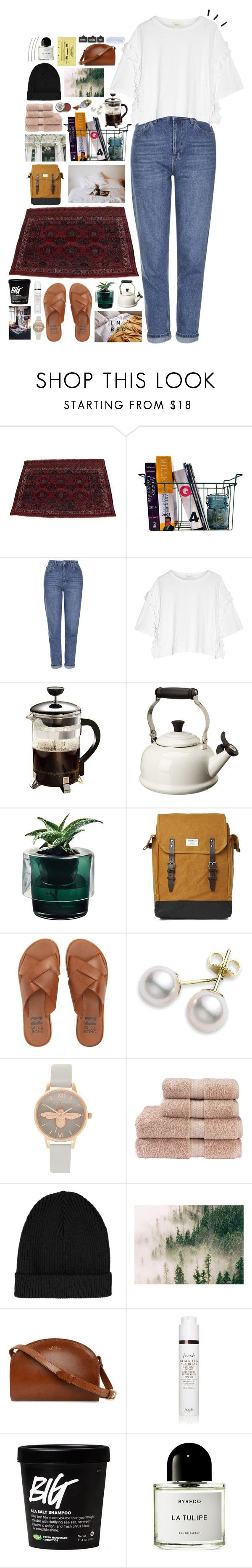 """""""RAINWATER STUCK IN HIS HEAD, IT FILLED HIM WITH WORDS LEFT UNSAID"""" by kappucino ❤ liked on Polyvore featuring Topshop, Steve J & Yoni P, Primula, Le Creuset, Nude, Sandqvist, Billabong, Mikimoto, Olivia Burton and Christy"""