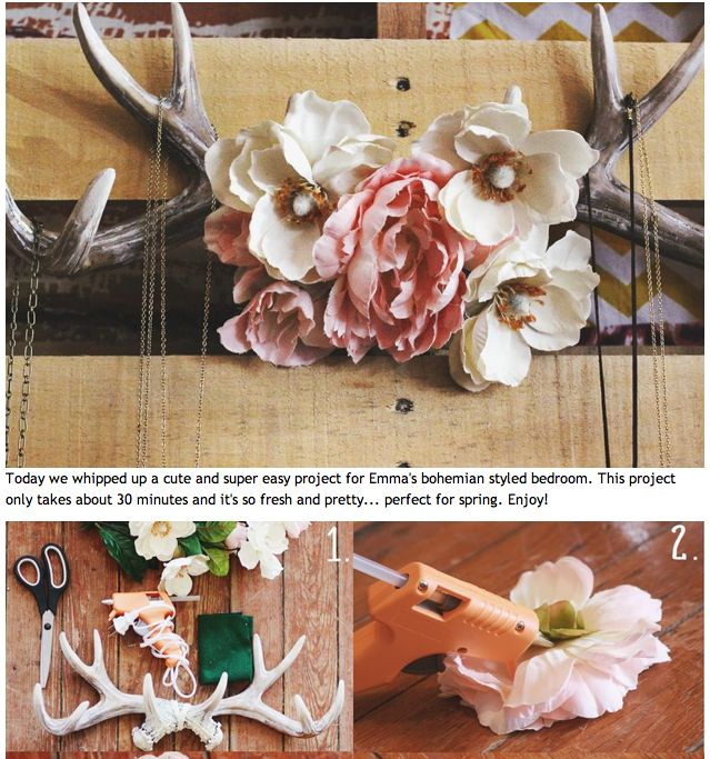 "Flower & antler jewelry holder. My next DIY project thanks to @Jeanette Lai Thomas Yocum and her ""great white hunter husband"" :)"