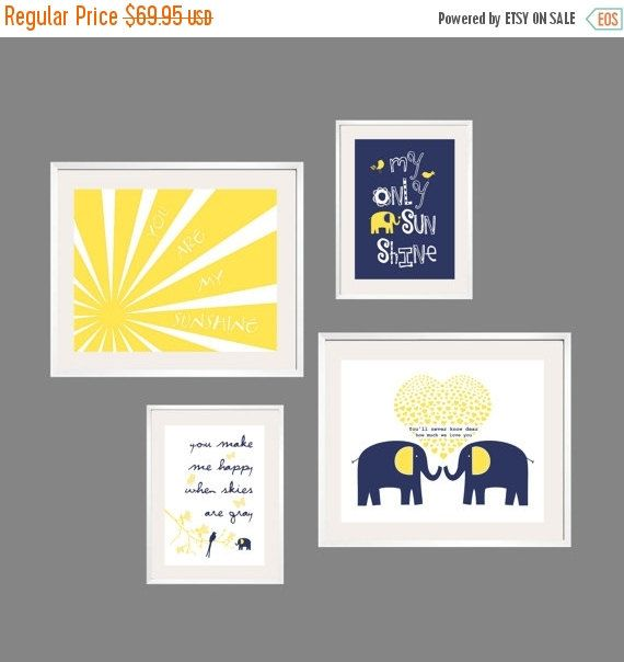 ON SALE Kids Wall Art You Are My Sunshine Navy and Yellow Nursery Decor 8x10 and 5x7 - Eclectic Nursery or Toddler Girl Wall Art - YassisPla