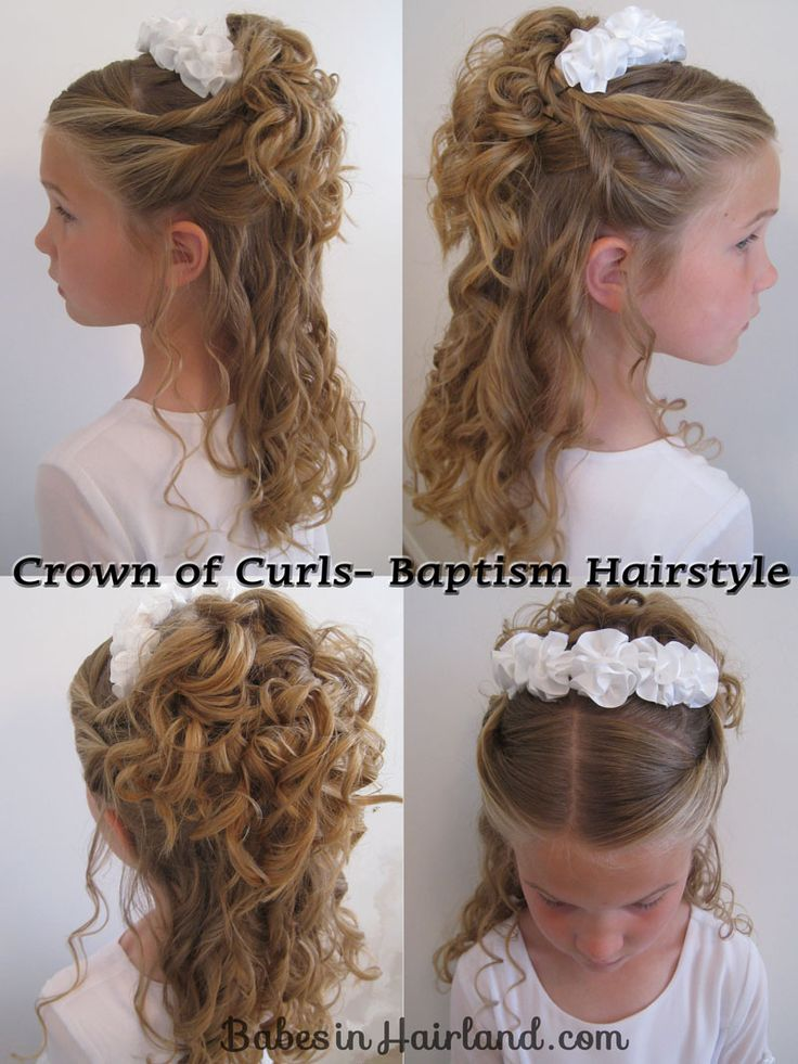 Curly updo with a headband. I'm thinking about doing this for Katie's recital too.