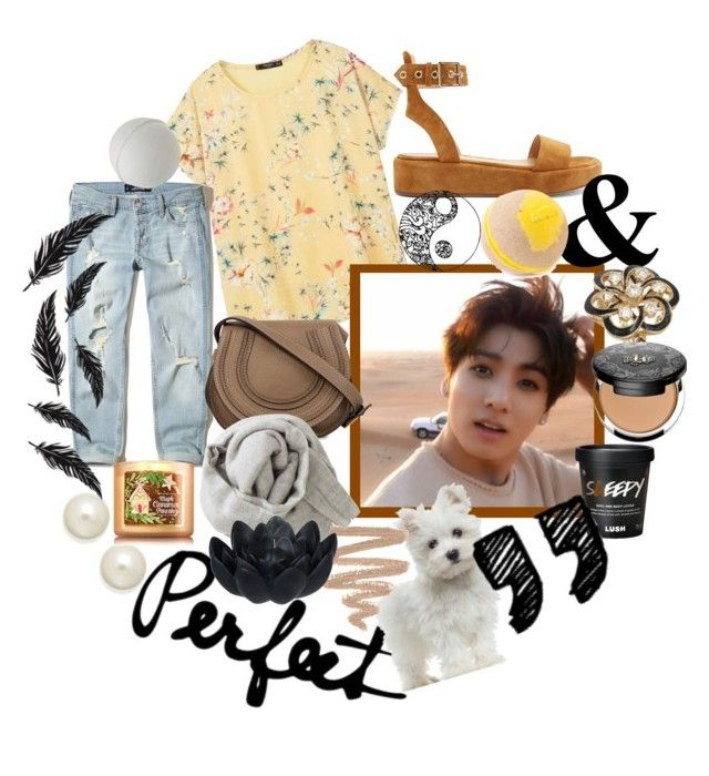 """""""Jeon Jungkook <3"""" by dre4ming ❤ liked on Polyvore featuring MANGO, Hollister Co., Gianvito Rossi, Charter Club, Vintage, Kat Von D, Chloé, Brunello Cucinelli and Sia"""