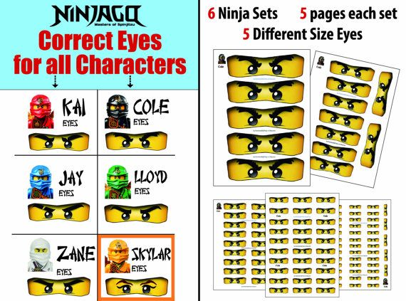 Yeux de Ninjago, pour ballon, autocollants, sucette, faveur de sacs, tasses - fête d'anniversaire de Ninjago