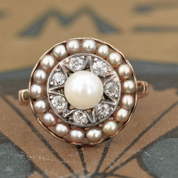 Victorian diamond and pearl ring-antique by EngagedWithDiamonds