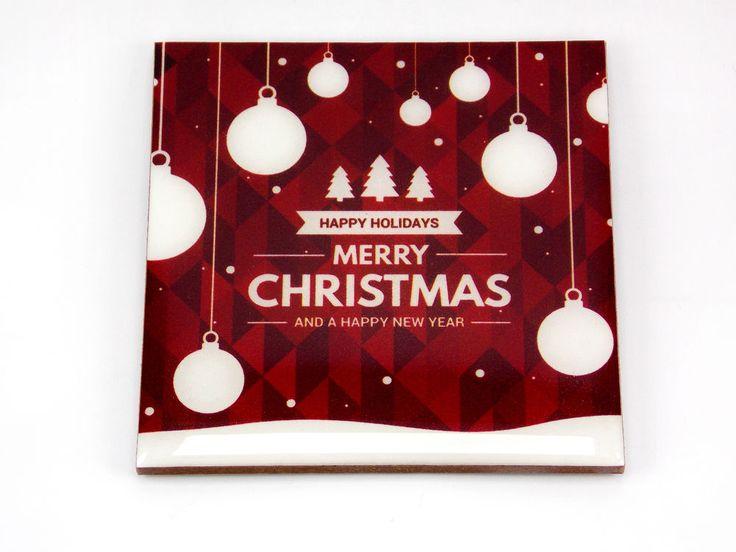 Happy Holidays Merry Christmas Tree Balls Drink Coaster Unique Gift Wood Osarix