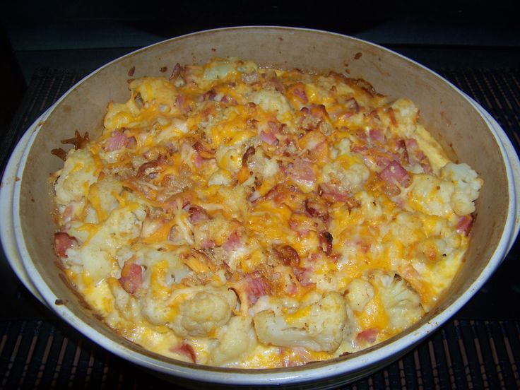 Cheesy Cauliflower Ham Casserole