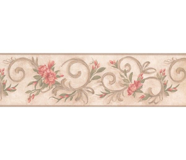 7 In X 15 Ft Prepasted Wallpaper Borders Floral Wall Paper Border 7957 Km Floral Wallpaper Border Wallpaper Border Floral Wallpaper