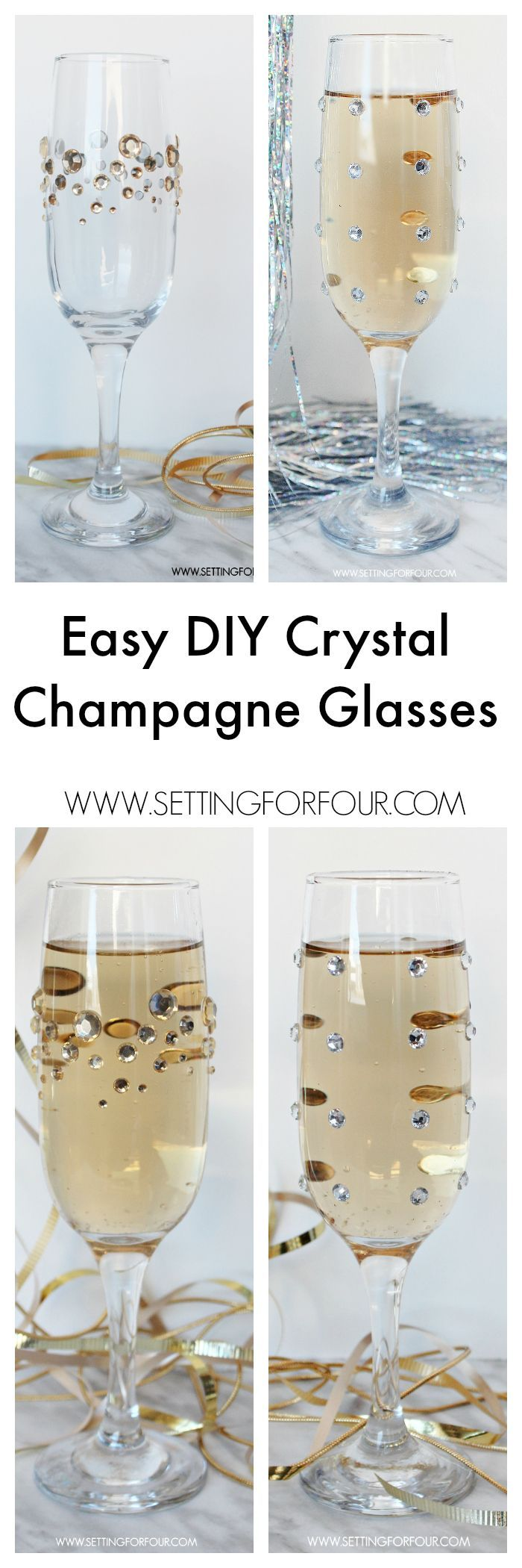 Fast, Fun and Fabulous! Make beautiful, quick and easy DIY Glamourous Crystal Rhinestone Champagne glasses for your next party! Inexpensive idea for wedding receptions too! Dress up plain party glasses with some pretty sparkle and shine. You won't believe how straightforward this tutorial is!  www.settingforfour.com