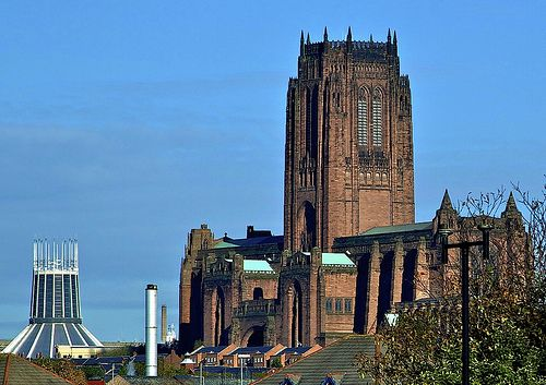 THE TWO LIVERPOOL CATHEDRALS. The new one at the rear is the RC Cathedral whilst…