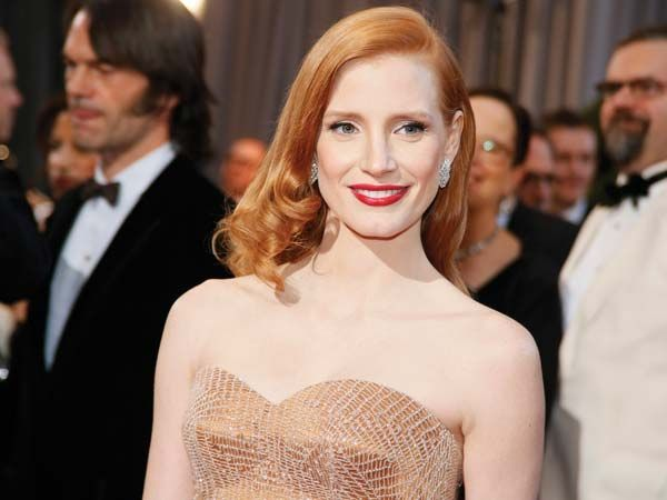 Jessica Chastain  The Best actress nominee's sparkly Armani Prive gown found a companion in vintage Harry Winston jewels.