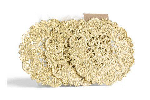 Metallic Gold Medallion Lace Round Doilies | Pop Roc Parties