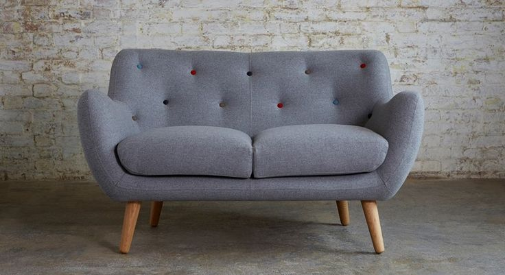 Grey Small 2 Seater Sofa Knebworth Light Grey Multi Coloured Button | Kennington