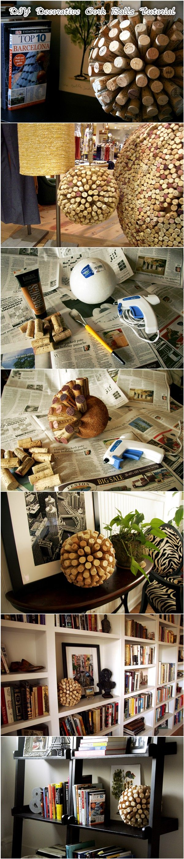 #DIY Decorative #Cork #Balls #Tutorial This #DIY #project is very easy and only requires a few supplies, most of which can be found at your local craft store. I got my corks from colleagues and family members who save them, however if you are not fortunate enough to have a slew of winos in your circle, you can purchase #used corks on eBay quite easily.