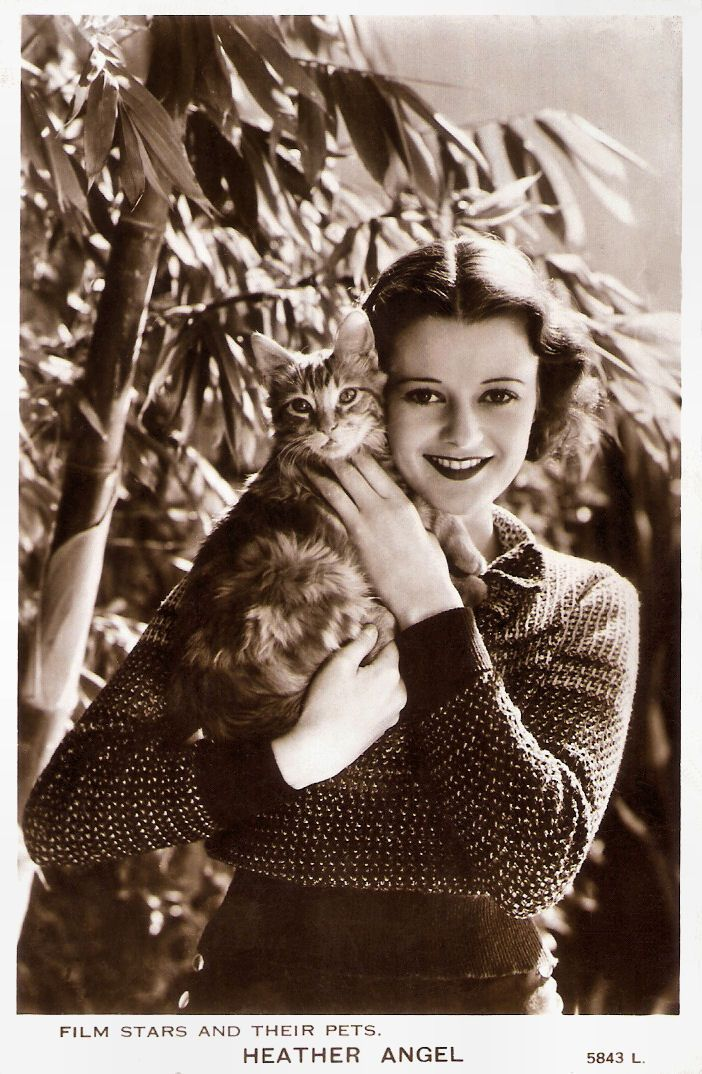 Heather Angel British postcard in the Film Stars and Their Pets series by Valentine's Postcards, no. 7113 L, ca. 1934. Flower-like British-American actress Heather Angel (1909-1986) was in high demand...