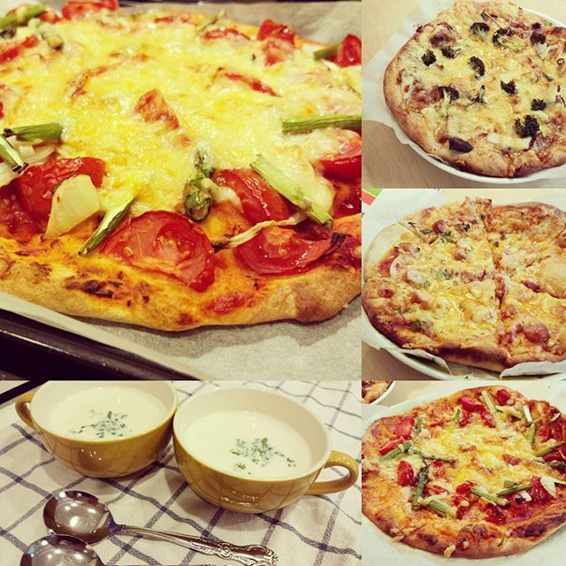 米粉ピザ、出来上がりんちょ。  アスパラとトマトの野菜ピザ 鶏肉エリンギブロッコリーの照り焼きピザ ソーセージとベーコンのチーズもりもりピザ コーンスープ  手作りピザには、波里「米粉倶楽部」さんの米粉をいつも使用しています。もう6年ぐらいになるかな。生地の材料を一気に混ぜて、少しこねるだけで出来てしまう、忙しいときでも手作りピザを、という時に、おすすめです。