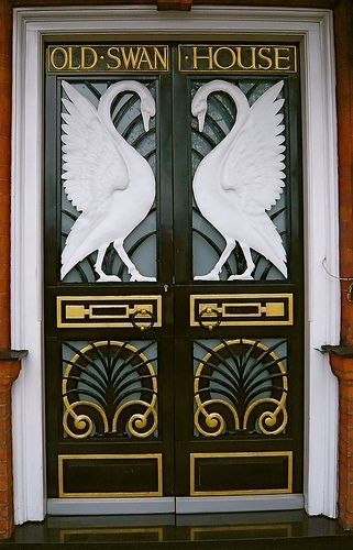 Art Nouveau Swan House Doors by londonconstant via Flickr.com. Built in 1875 by Norman Shaw, it commands superb views over the river Thames; it remains the largest house in Chelsea, at 19,000 sq feet.