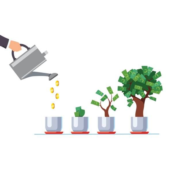 Hand with watering can pouring golden coins money vector
