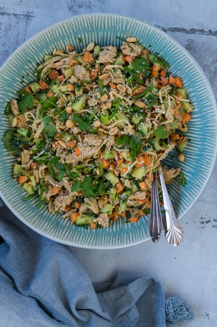 Nudelsalat med hakket kyllingekød og peanutsauce - Julie Bruun