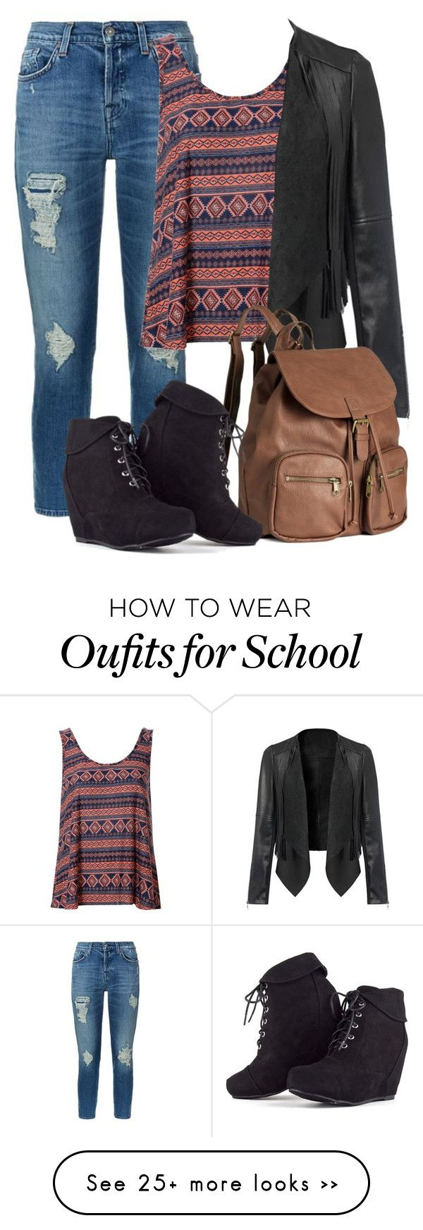 """""""School Time"""" by superal on Polyvore featuring 7 For All Mankind, Glamorous, H&M and SchoolTime"""
