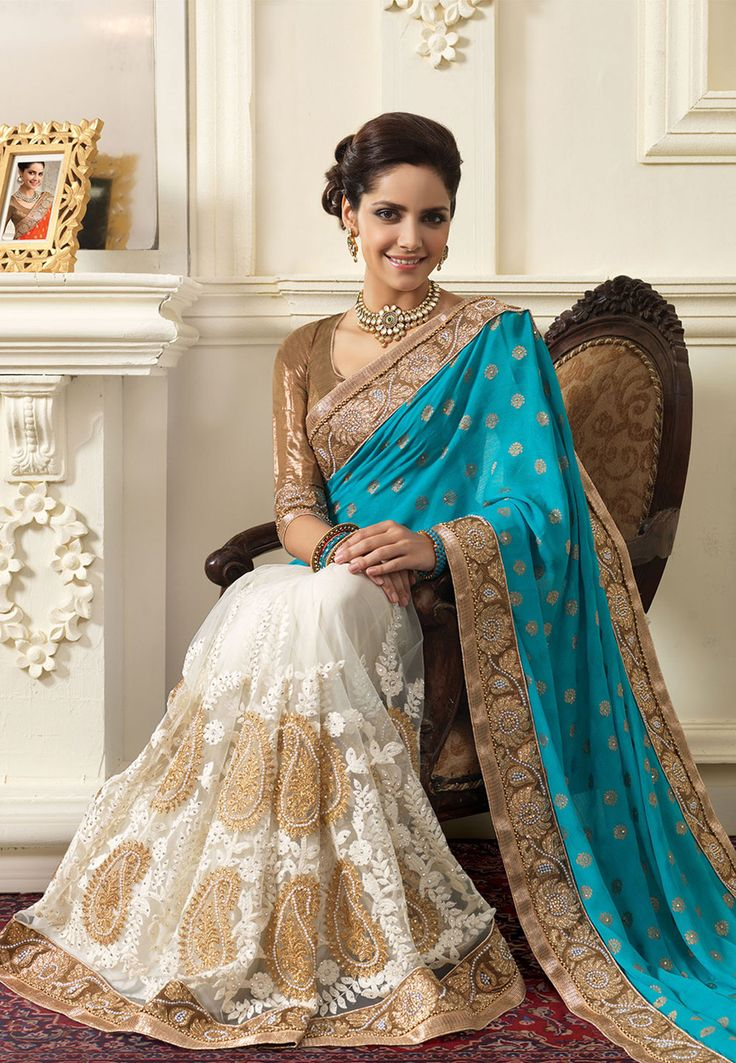 Aqua and Off White Faux Crepe Jacquard and Net Saree with Blouse: SYG323