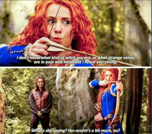 """What's she saying? Her accent's a bit much, no?"" - Rumple (as Dark One conscience) and Merida #OnceUponATime"