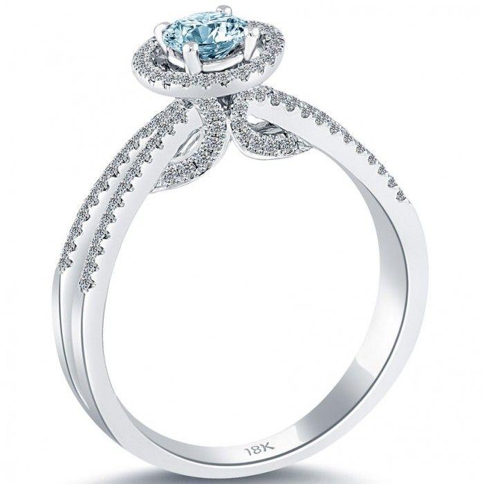 0.67 Carat Fancy Blue Diamond Engagement Ring 18k White Gold Pave Halo