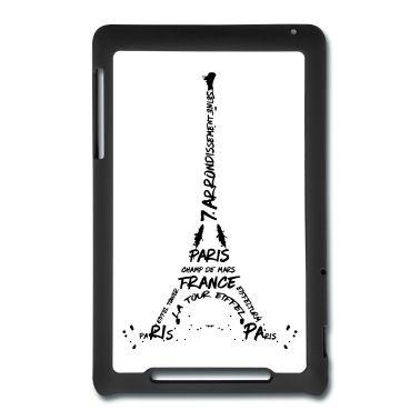 Das bekannte Wahrzeichen von Paris, der Eiffelturm, in einem sehr modernen Design. Kunstvolles Werk mit typografischen Elementen.