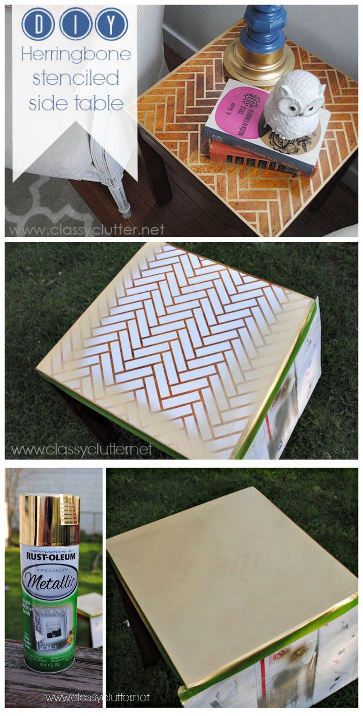 DIY Herringbone Side Table Tutorial -  MichaelsMakers  Classy Clutter