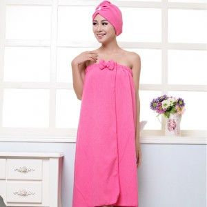 Women's Microfiber Bath Towel Set With Hair Band