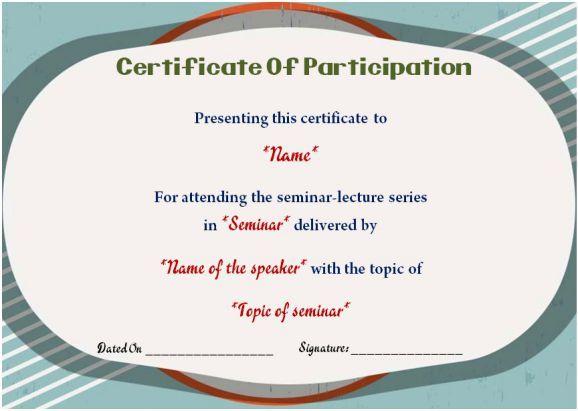 Sample Certificate Of Participation In Seminar 12 Certificates