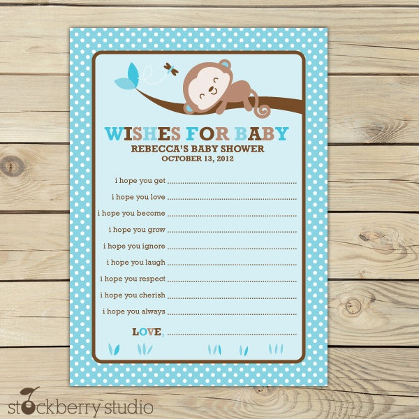 Monkey Boy Baby Shower For Baby Advice Printable Card