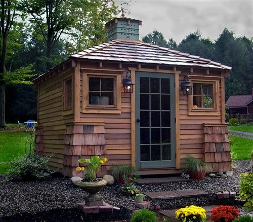 70 best yard garden sheds images on pinterest garden for Wooden playhouse with garage