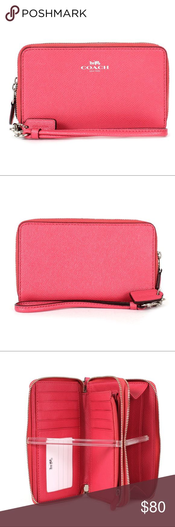 Coach Wristlet Wallet Coach Crossgrain Leather Double Zip Phone Wristlet F57467 Strawberry -new Coach Bags Wallets