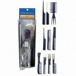 Aristocrat 10 Piece Professional Comb Set by Aristocrat. $7.29. All packed in an attractive Roll-up.. Set includes: Wide tooth rat tail comb,Fine tooth pin tail comb,3 in 1 comb,Fine tooth rat tail comb, Wave comb, Cutting comb, Rake comb, Dual purpose comb with metal lift, Dual purpose comb with plastic lift, Swallow styler pik.