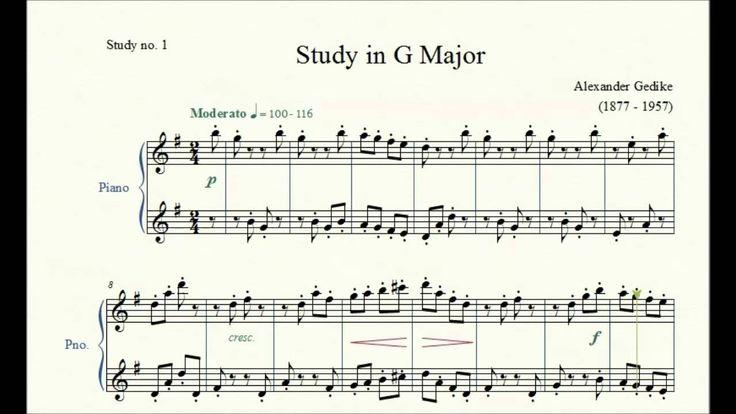 Study no. 1: Study in G Major - Alexander Gedike - Piano Studies/Etudes 2
