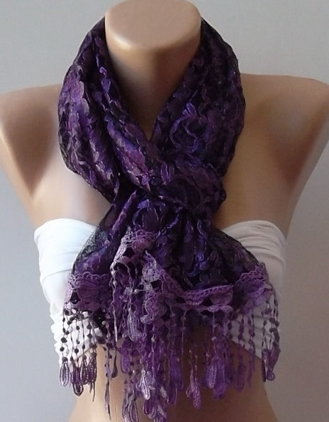 Purple  Elegance  Shawl / Scarf with Lacy Edge by womann on Etsy, $14.50: Colors Purple, Favorite Colors