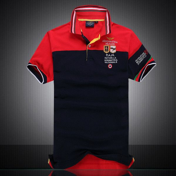 100% Cotton Aeronautica Militare Letters Embroidery Men Polo Shirt Summer Style Men's Causal Short Sleeve T Shirt Tshirt