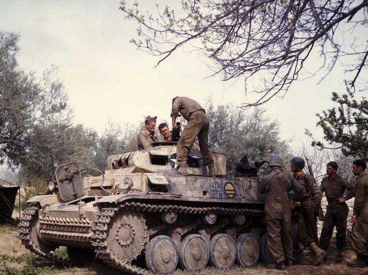 """retrowar: """"Color photo of Panzer II captured by U.S. forces in Tunisia """""""