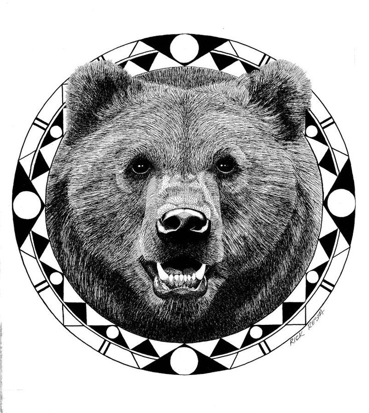 Bear tat without the circle - more realistic hair would be great