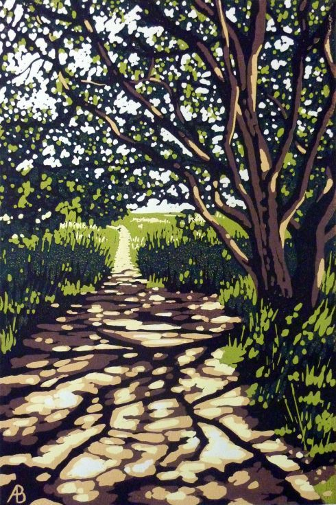 ARTFINDER: Snape Maltings Walk by Alexandra Buckle - A reduction linocut of a beautifully lit tree I came across whilst on a walk at Snape Maltings in Suffolk. I loved the sunny tree patterns on the path and th...