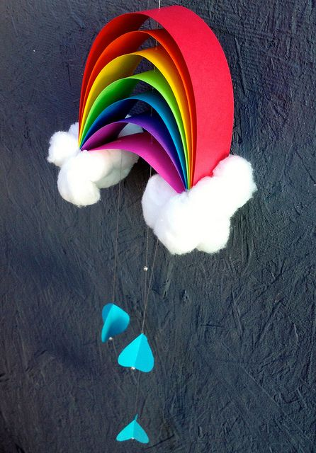 rainbow craft - construction paper, glue, twine, cotton balls