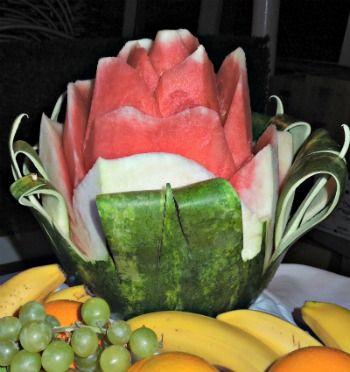 Watermelon Flower  #watermelon #fruit creations #centerpieces  www.grandparentsplus.com