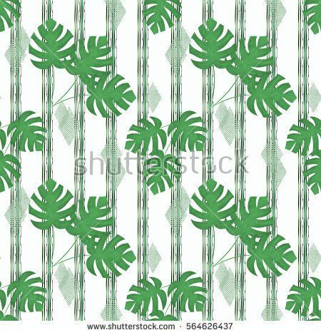 Seamless floral pattern., green tropical leaves on a white background  with vertical green stripes.